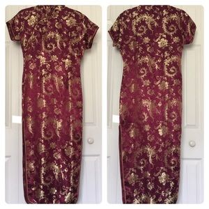 Dresses & Skirts - Chinese gold and fuschia dress